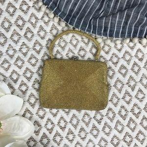 Vintage Gold Beaded Mini Purse Hand Bag